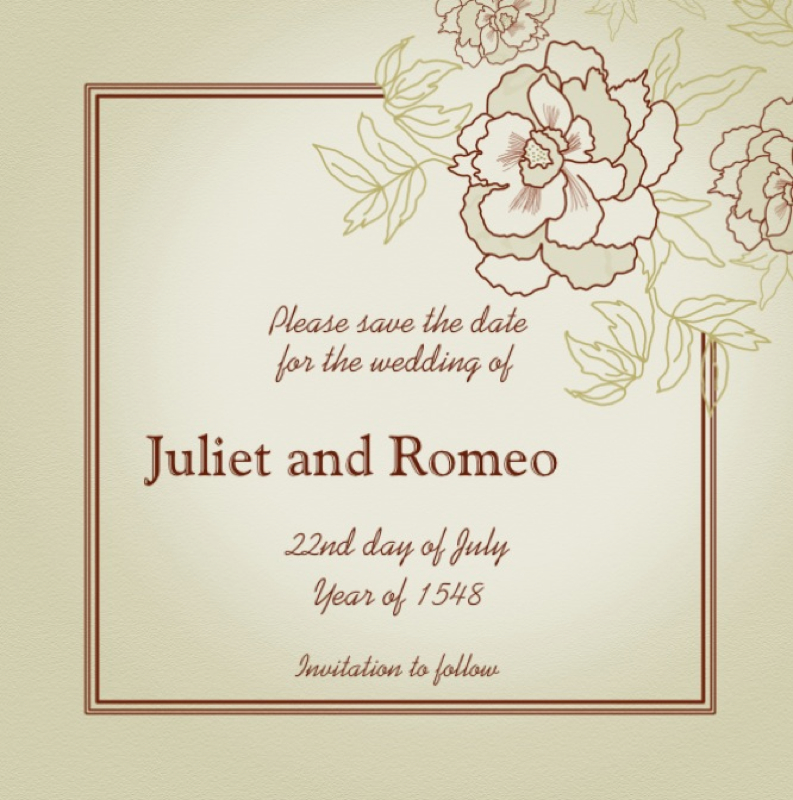 Romeo And Juliet Wedding Invitations: Wedding Of Romeo And Juliet